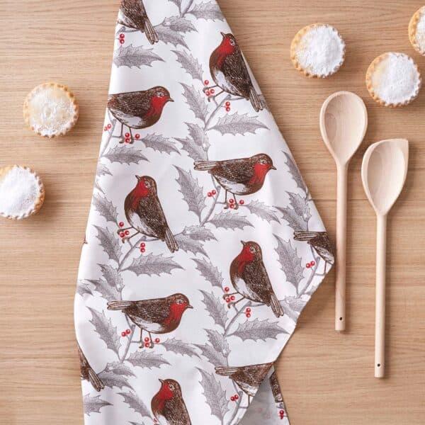 robin & holly tea towel by thornback & peel