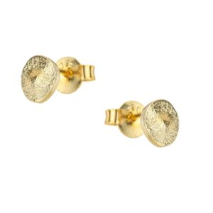 gold pebble stud earrings by one & eight jewellery