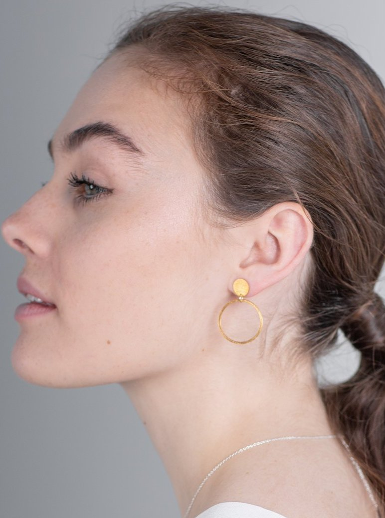 gold luna earrings by one & eight jewellery