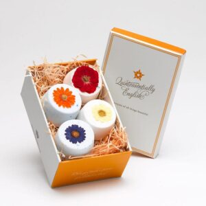 4 flower fizzies in a box by quintessentially English