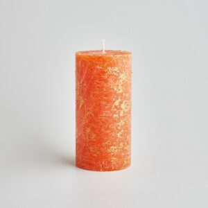 orange & cinnamon gold marbled pillar candle by st eval