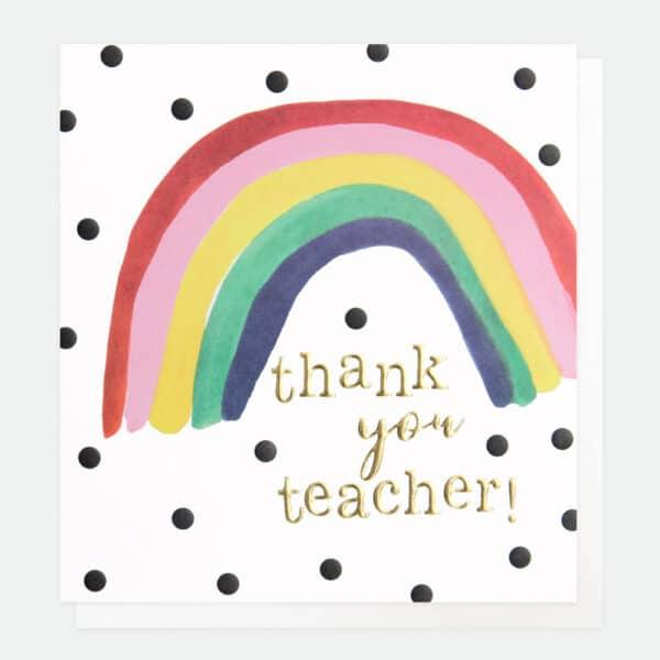 rainbow thank you teacher card by caroline gardner
