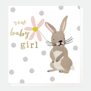 Bunny New Baby Girl Card by Caroline Gardner