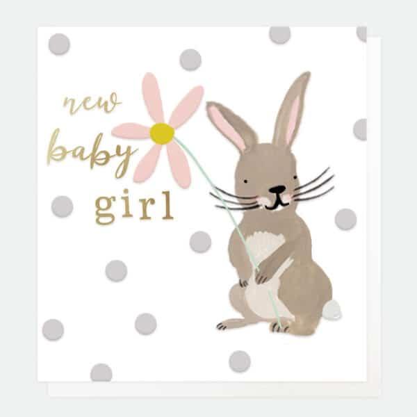 Bunny New Baby Girl Card by Caroline Gardner