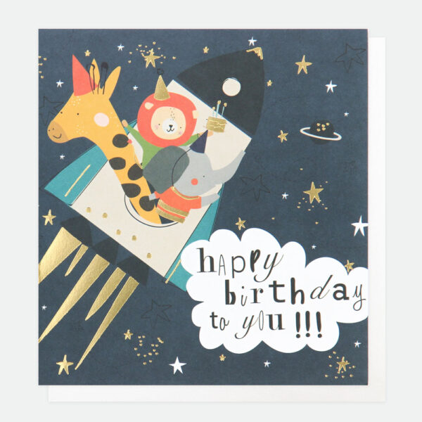 rocket happy birthday card by caroline gardner