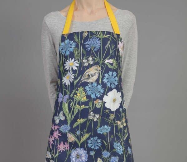 goldcrest & cornflower navy apron by particle press