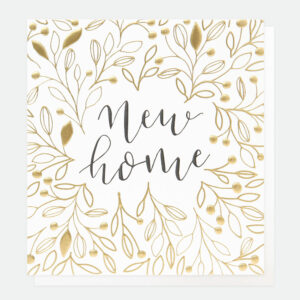 Gold & Calligraphy New Home Card by caroline gardner