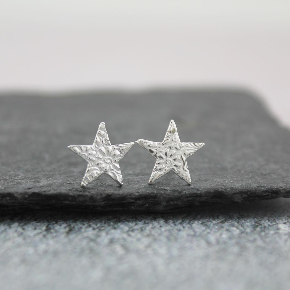 sterling silver lace texture star studs by lucy kemp jewellery