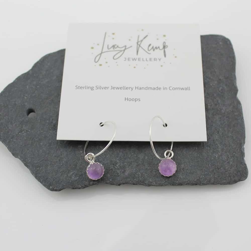 sterling silver amethyst hoops by lucy kemp jewellery