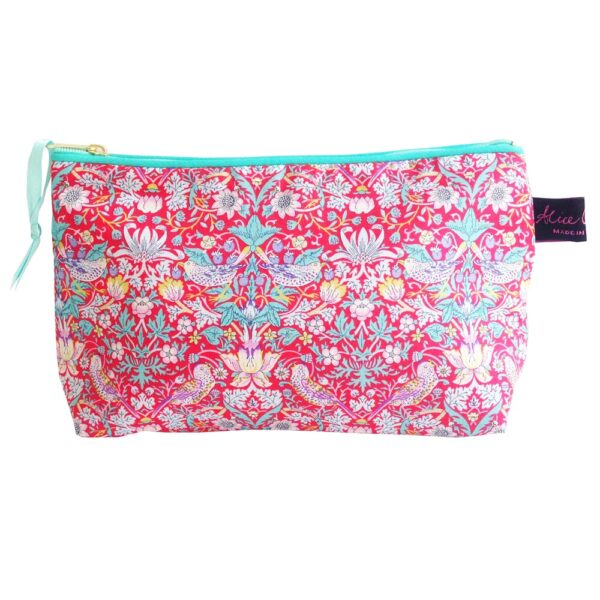 strawberry thief red cosmetic bag by alice caroline