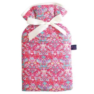 strawberry thief red liberty hot water bottle by alice caroline