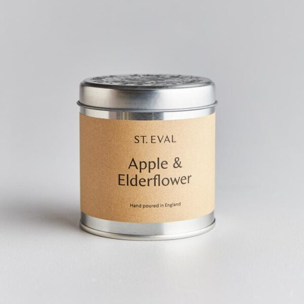 apple and elderflower scented candle tin by st eval