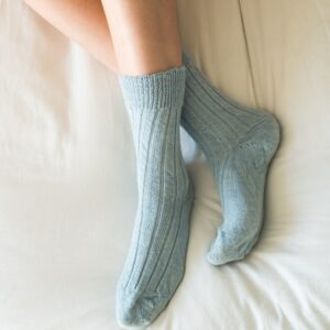 blue alpaca bed socks by tom lane
