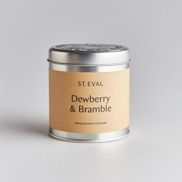 dewberry & bramble scented tin candle by St Eval