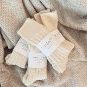 cream alpaca bed socks by tom lane