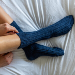 navy alpaca bed socks by tom lane