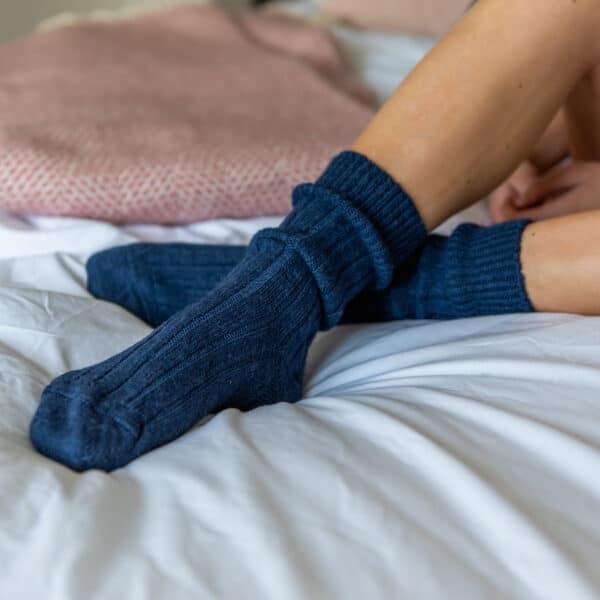 navy alpaca bed socks by tom lane