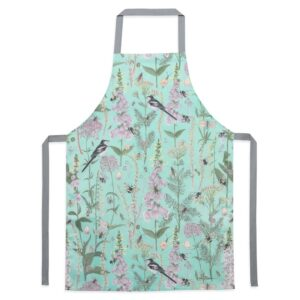 longtail & foxglove turquoise apron by particle press