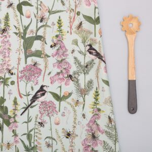 long tail & foxglove mint green tea towel by particle press