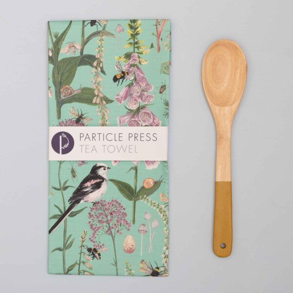 long tail & foxglove turquoise tea towel by particle press