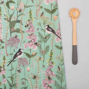 longtail & foxglove turquoise tea towel by particle press