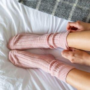pink alpaca bed socks by tom lane