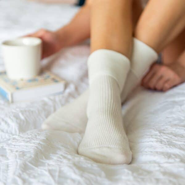 cream cashmere socks by tom lane