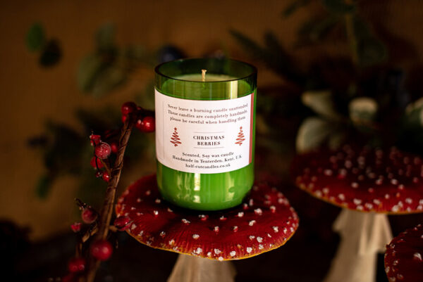 Christmas berries candle by half cut candles