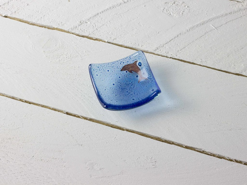 dolphin earring dish by jo downs glass