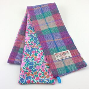 aqua pink floral tweed scarf by helen chatterton