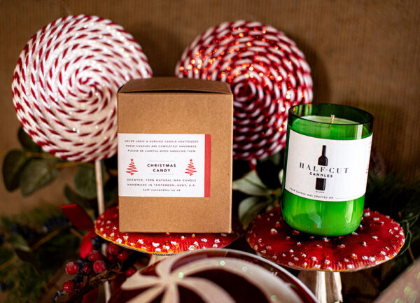 Christmas candy candle by half cut candlers