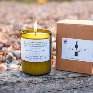 Blue Coral & Sea Salt soy wax candle by half cut candles
