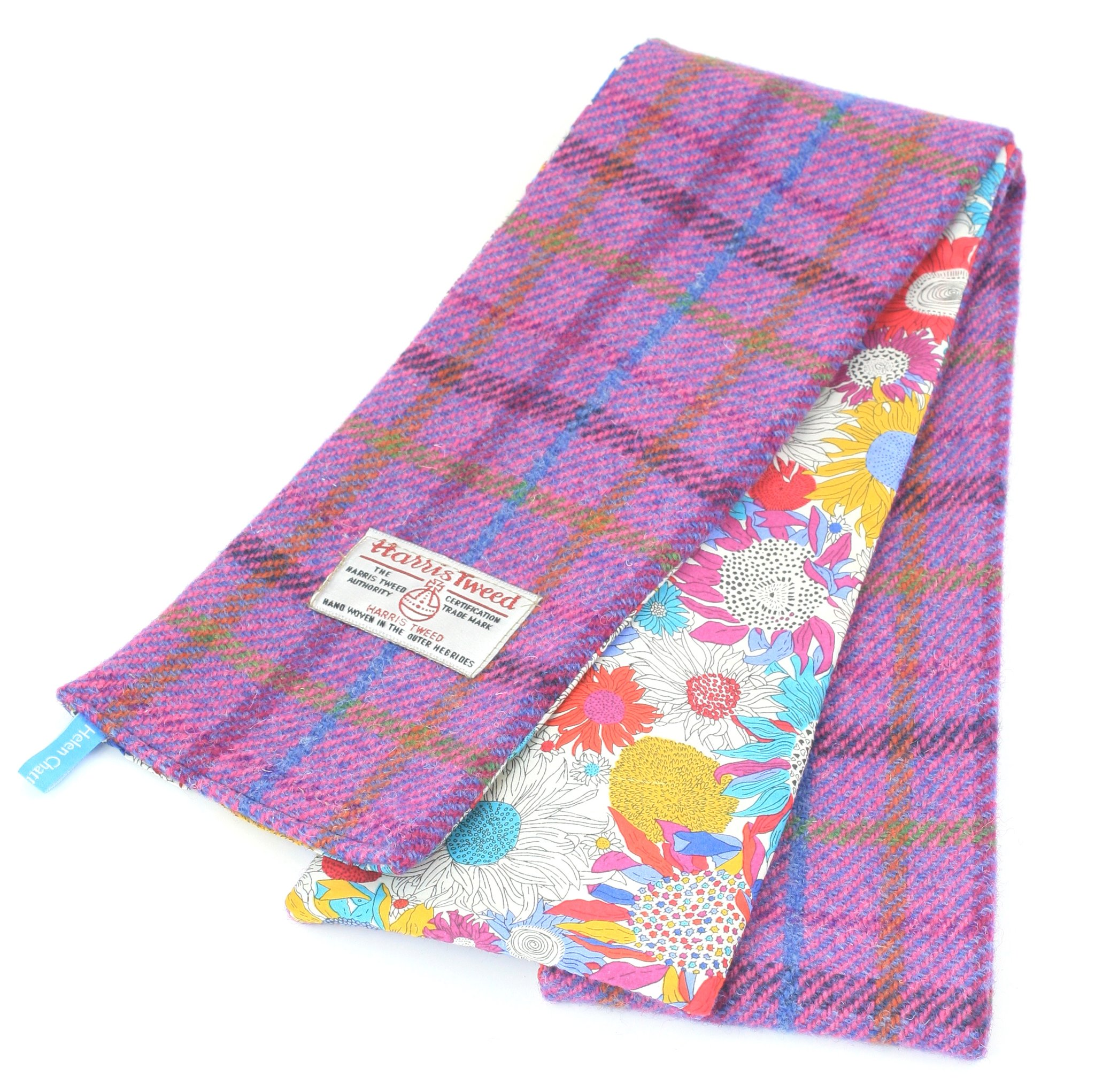 Bright Lilac Sunflower harris tweed skinny scarf by Helen Chatterton textiles