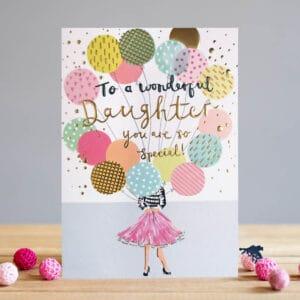 Daughter Balloons card by louise tiler