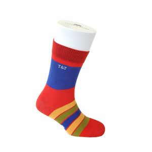 Kaleidoscope red Thick Rich Cotton Socks by Tyler & Tyler