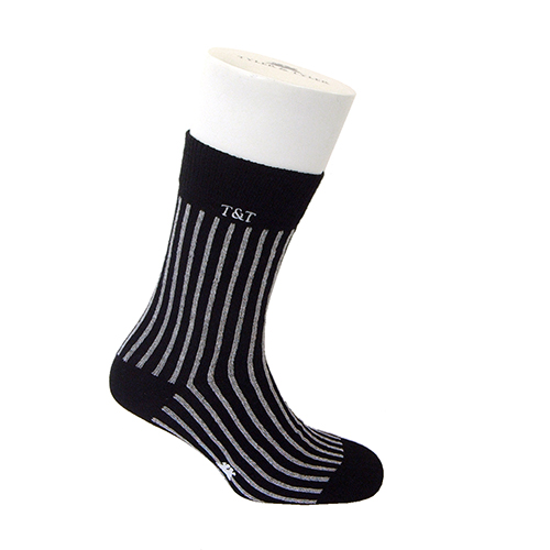 Pinstripe Wide black Thick Rich Cotton Socks by Tyler & Tyler