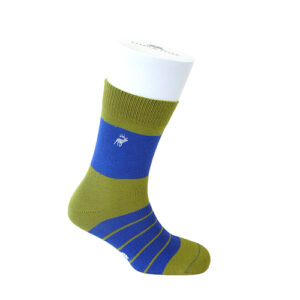 TYLER & TYLER THICK RICH COTTON SOCKS – SINGLE STRIPE GREEN/BLUE