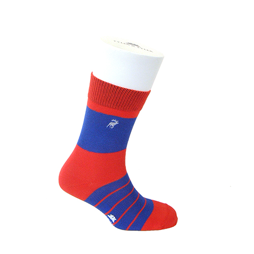 Single Stripe Red/Blue Thick Rich Cotton Socks by Tyler & Tyler