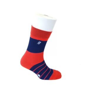 Single Stripe Red/Navy Thick Rich Cotton Socks by Tyler & Tyler