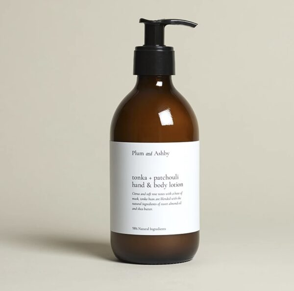 Tonka & patchouli hand & body lotion by plum & ahsby