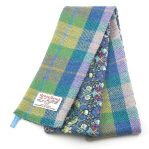 Turquoise Bright Green Harris Tweed Skinny Scarf by Helen Chatterton Textiles