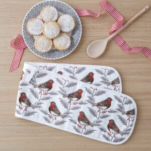robin & holly oven gloves by thornback & peel