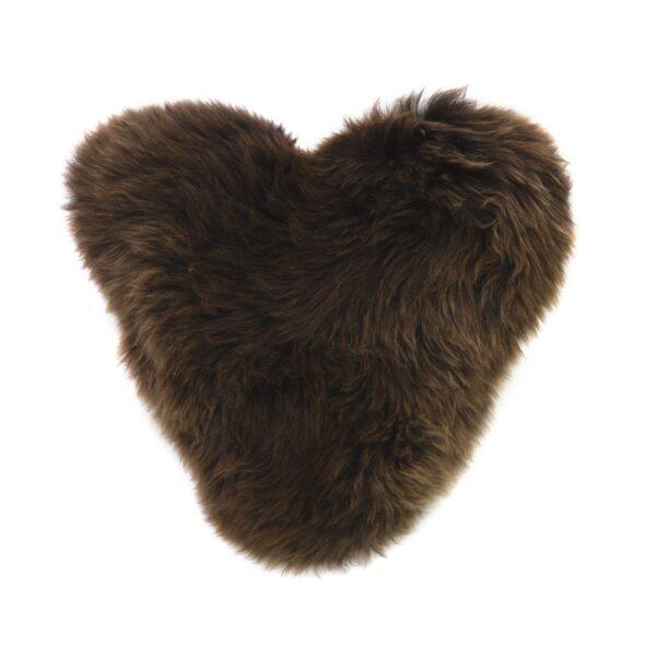Chcocolate heart sheepskin cushion by baa stool