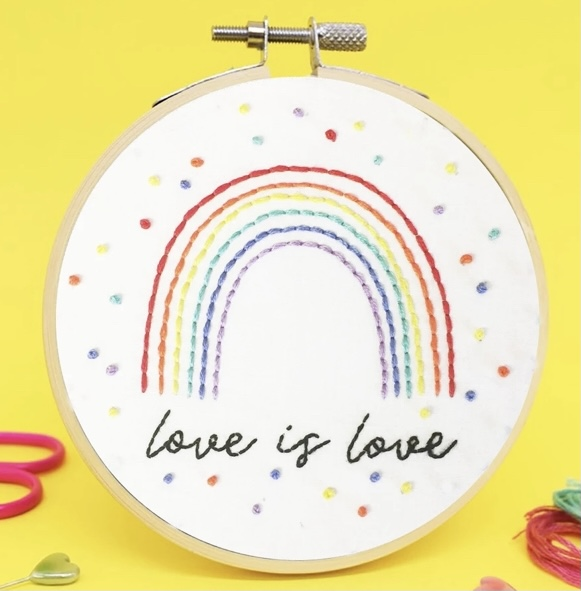 Love is love cross stitch kit by the make arcade
