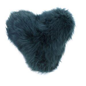 Teal hart sheepskin cushion by baa stool