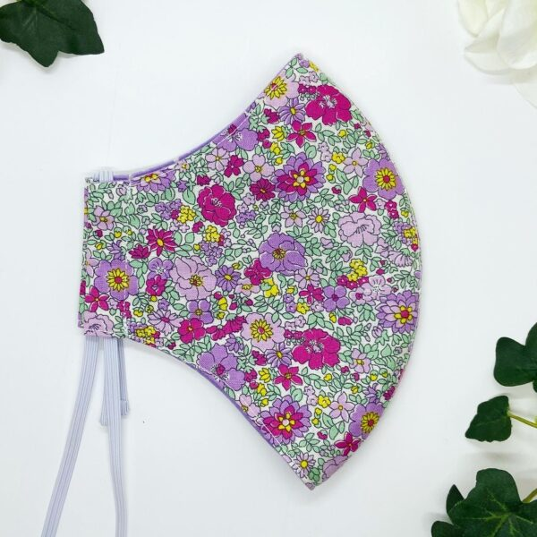 Purple & pink floral liberty face mask by sarah louise hardwick
