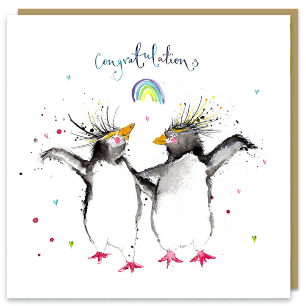 Congratulations rockhoppers card by louise mulgrew