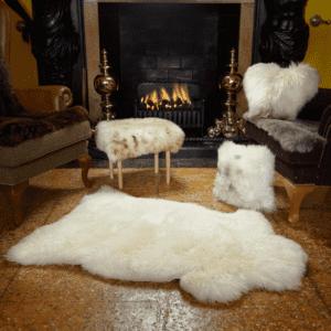 Sheepskin rug in ivory by baa stool