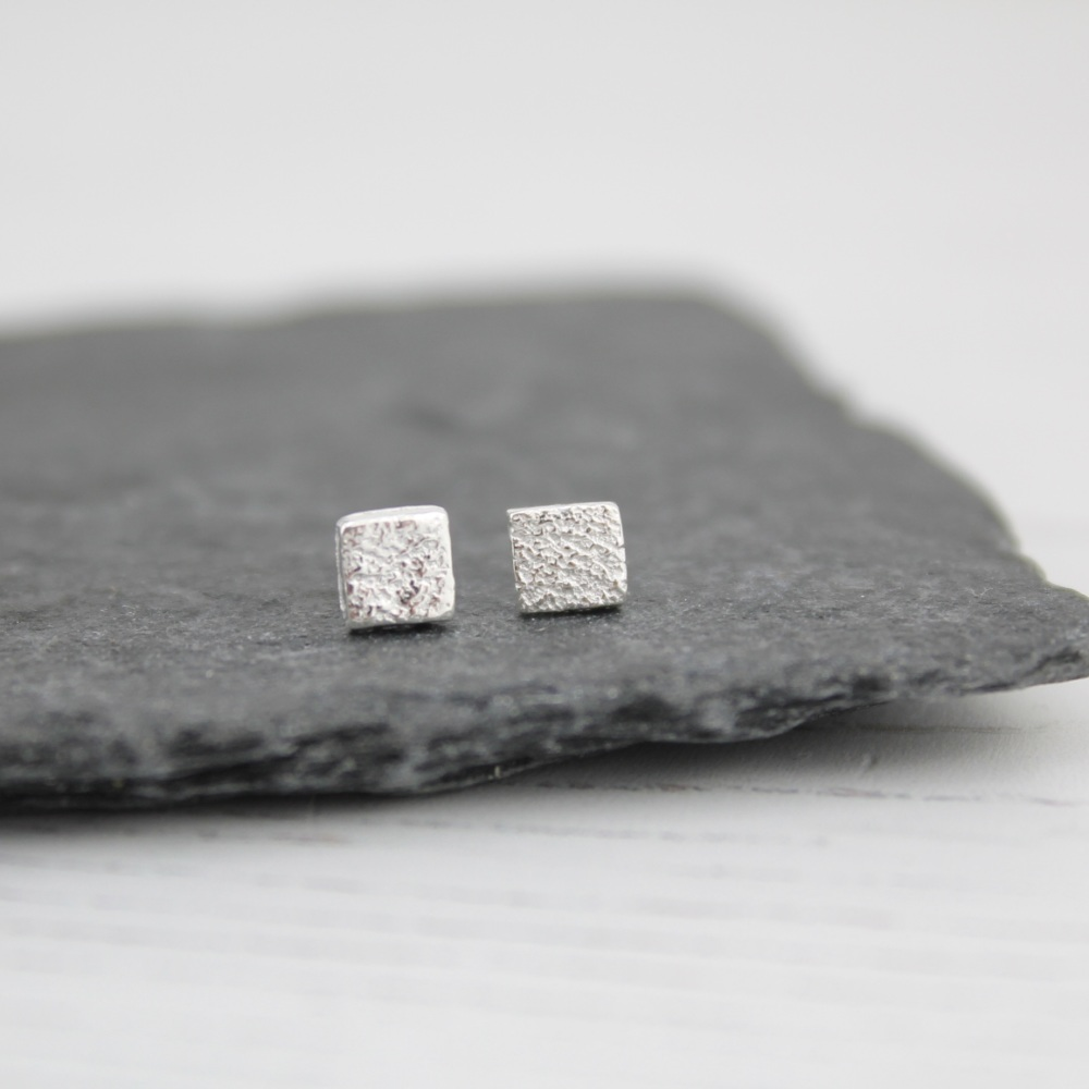 Handmade Sterling Silver Mini Square Studs By lucy Kemp Jewellery