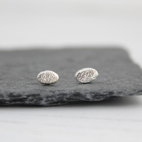 Handmade Sterling Silver Mini Oval Studs By lucy kemp jewellery